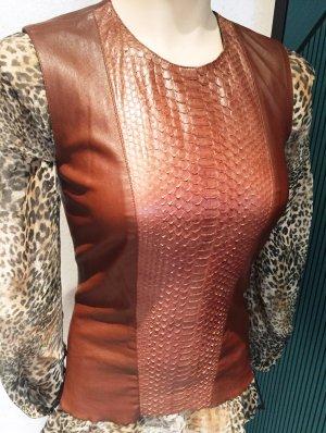 Plein sud Corsage Top brown-cognac-coloured leather