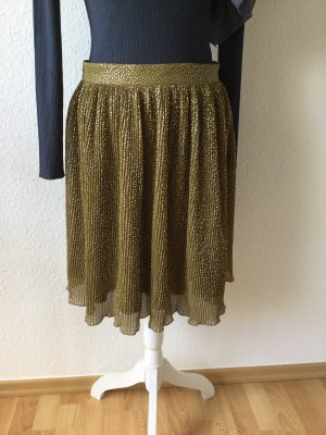H&M Pleated Skirt silver-colored-olive green