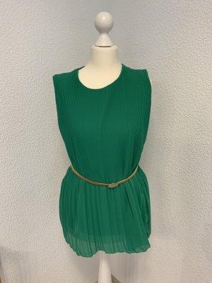 Plissee Bluse in grün ohne Ärmel