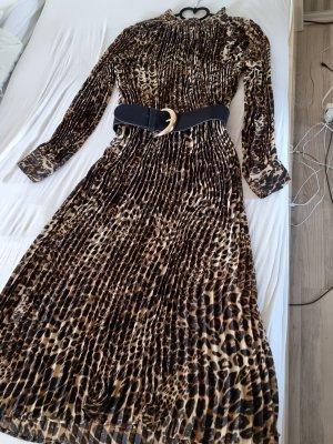 Plissee Maxi Kleid Leopard Leoprint Leo Sommer Herbst Chiffon