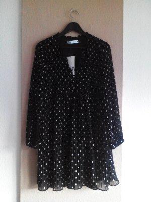 Plissee Minikleid schwarz-weiss gepunktet, Grösse L, neu
