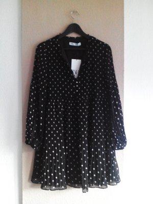 Plissee Minikleid schwarz-weiss gepunktet, Grösse XL, neu