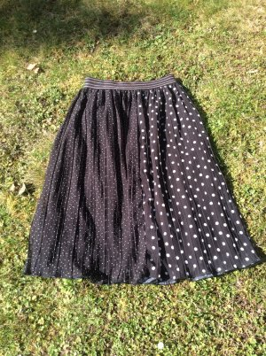 Zara Basic Falda plisada negro-blanco