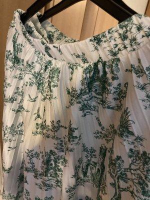 H&M Falda plisada blanco-verde bosque