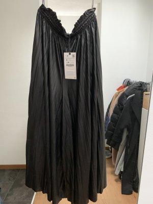 Zara Pantalone culotte nero Finta pelle