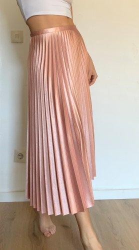 Zara Woman Gonna pieghettata color oro rosa