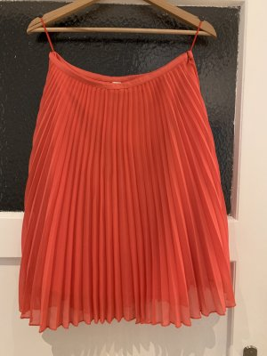 Mango Suit Pleated Skirt salmon-bright red polyester