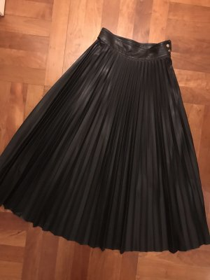 Mango Pleated Skirt black polyester