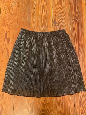 Oui Pleated Skirt black-silver-colored