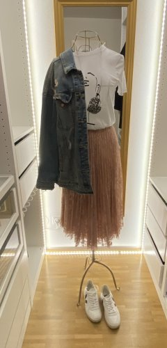 Stradivarius Lace Skirt dusky pink lace