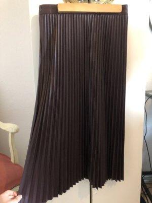 C&A Jupe en cuir synthétique brun rouge