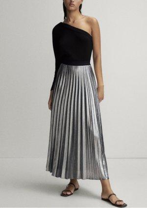 Massimo Dutti Pleated Skirt black-silver-colored