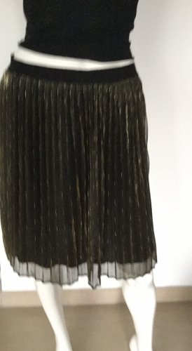 Freequent Falda plisada negro-color oro