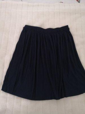 H&M Basic Plisowana spódnica ciemnoniebieski Wiskoza