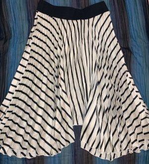 Zara Falda plisada blanco-azul oscuro