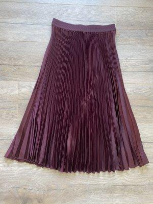 H&M Falda plisada burdeos-carmín