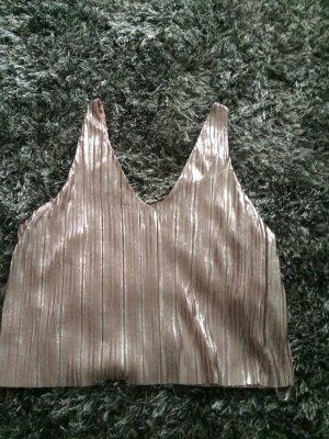 Zara Trafaluc Silk Top rose-gold-coloured polyester