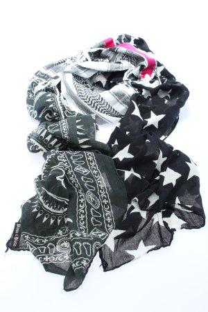 Plomo o plata Écharpe à franges noir-blanc imprimé allover