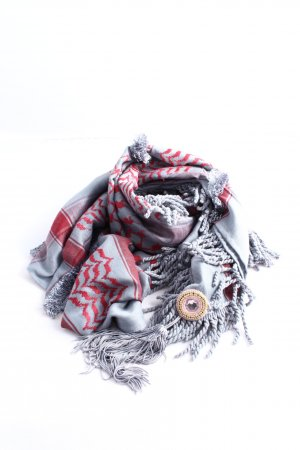 Plomo o plata Scialle rosso-grigio chiaro motivo grafico stile professionale