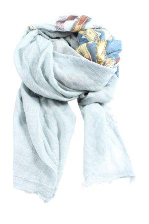 Plomo o plata Mantilla azul-crema estampado con diseño abstracto look casual