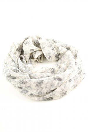 Plomo o plata Woolen Scarf white-light grey abstract pattern casual look