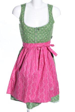 Ploom Dirndl grün-pink Allover-Druck klassischer Stil