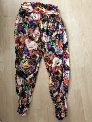 Smashed lemon Pantalon large noir-rouge