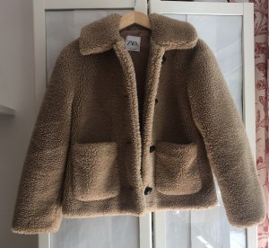 Zara Fake Fur Jacket multicolored