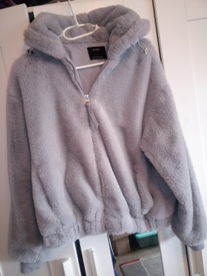 Bershka Fur Jacket silver-colored