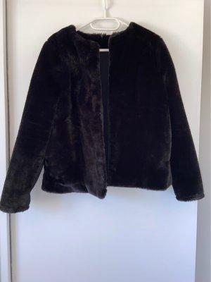 H&M Futrzana kurtka czarny