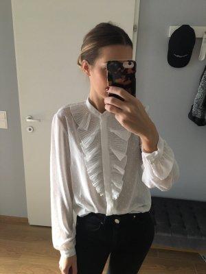 Plumetis Bluse weiß mit Volant H&M