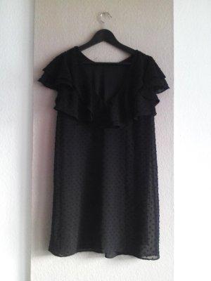 Plumetis Minikleid mit Volant in schwarz, Grösse M
