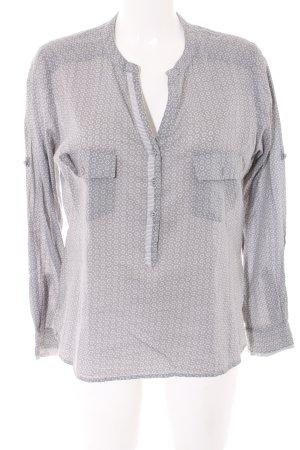 Plus Fine Langarm-Bluse hellgrau-weiß abstraktes Muster Elegant