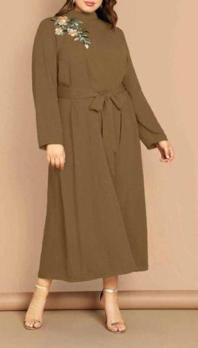 SheIn Vestido largo verde oliva-caqui