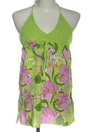 Plusminus Haltertop groen-roze abstract patroon casual uitstraling