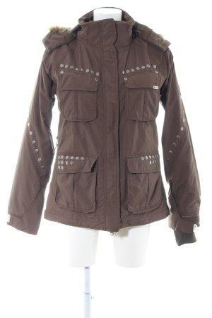 Plusminus Giacca invernale marrone motivo astratto stile casual