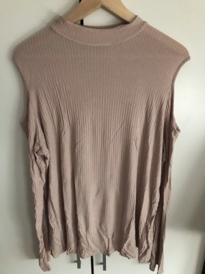 asos curve Prążkowana koszulka stary róż-nude
