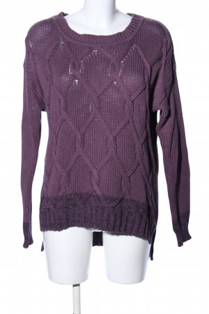 Poetry Strickpullover lila Zopfmuster Casual-Look