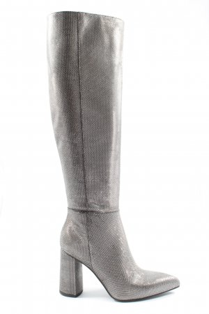 Poi Lei Wide Calf Boots silver-colored wet-look