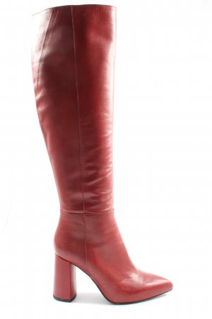 Poi Lei Wide Calf Boots red elegant