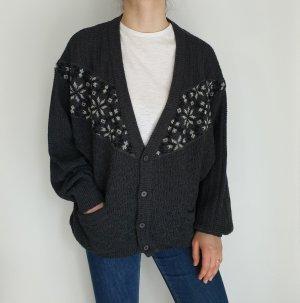 point grau weiß Jacke Cardigan Strickjacke Oversize Pullover Hoodie Pulli Sweater Top True Vintage