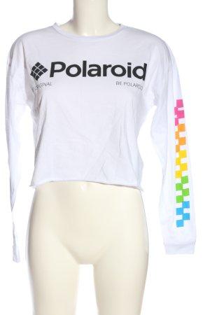 Polaroid Camisa recortada blanco-negro estampado temático look casual