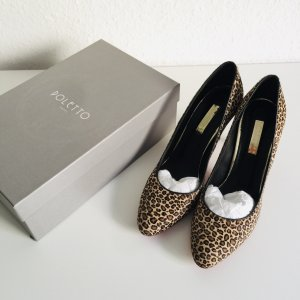 POLETTO High Heels Gr. 40 Echtfell Leo Print New
