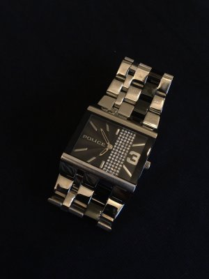 Police Horloge met metalen riempje zwart-zilver