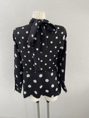 H&M Blouse avec noeuds noir-blanc