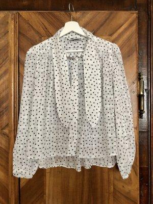 Zara Bluzka z kokardą biały-czarny Bawełna