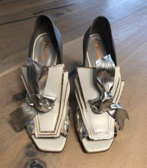 Pollini Blockabsatz Schuhe aus Leder / Pumps / Absatzschuhe / Peeptoes Schuhe / Abendschuhe / Sommerschuhe / Lederschuhe