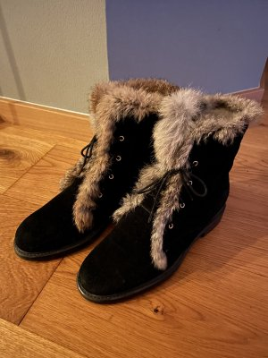 Pollini Boots Gr. 38 schwarz Leder gefüttert