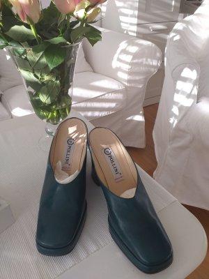 Armando Pollini Wedge Sandals gold-colored-petrol leather