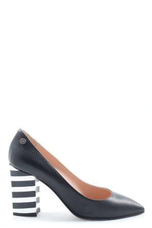 Pollini Spitz-Pumps schwarz-weiß Streifenmuster Business-Look